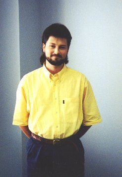 My corporate mug shot from those days - yes, long hair and a beard